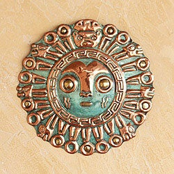 Handcrafted Copper and Bronze 'Coricancha Sun' Mask (Peru)