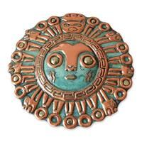 Handmade Copper and Bronze 'Coricancha Sun' Mask (Peru)