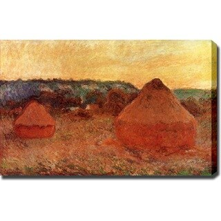 Claude Monet 'Haystacks: End of Day, Autumn' Canvas Art