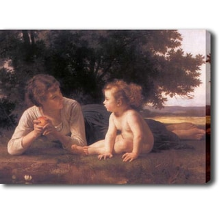 William-Adolphe Bouguereau 'Mom and Child' Giclee with Oil Brush Canvas Art