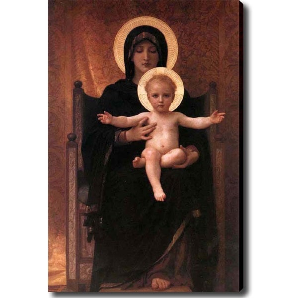 William-Adolphe Bouguereau 'The Virgin with Angels' Canvas Art - Multi