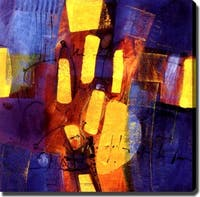 Abstract 'Blue and Yellow' Giclee Art on Canvas - Multi