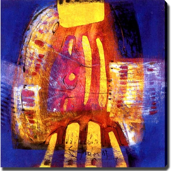 'Blue and Yellow' Giclee Abstract Canvas Art - Multi