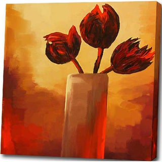'Red Flower' Giclee Canvas Print Art