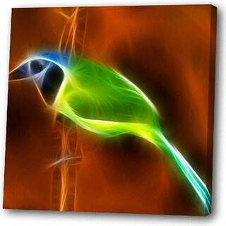 'Green Bird' Giclee Canvas Art - Multi