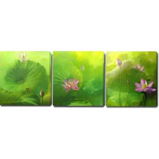 'Lotus Flower' Giclee with Oil Brush Canvas Art|https://ak1.ostkcdn.com/images/products/8229478/8229478/Lotus-Flower-Giclee-with-Oil-Brush-Canvas-Art-P15559139.jpg?impolicy=medium