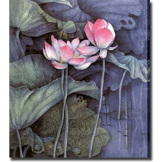'Water Lilies' Giclee Canvas Art - Multi