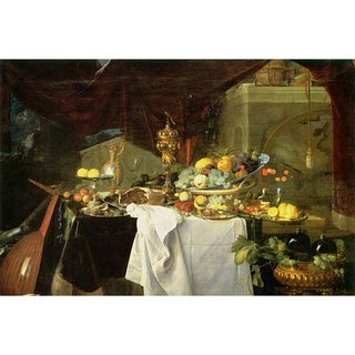 'Still Life of Fruit and Flower' Giclee Canvas Art - Multi