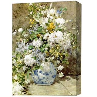 'White Flower in Blue Vase' Giclee Canvas Print Art