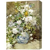 'White Flower in Blue Vase' Giclee Canvas Print Art
