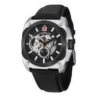 Stuhrling Original Men's Shadow Automatic Skeleton Leather Strap Watch - silver