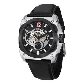 Stuhrling Original Men's Shadow Automatic Skeleton Leather Strap Watch - silver