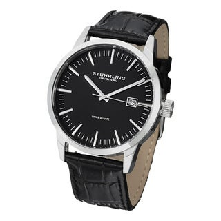 Stuhrling Original Men's Ascot 42 Swiss Quartz Leather Strap Watch