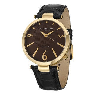Stuhrling Original Men's Surmount Swiss Quartz Black-Leather Strap Watch