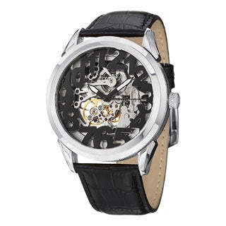 Stuhrling Original Men's Rosary Water-resistant Automatic Skeleton Leather-strap Watch