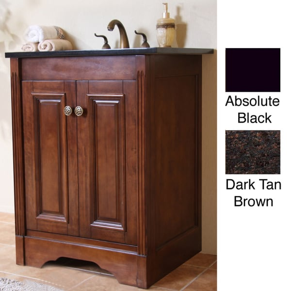 Natural Granite Top Light Walnut Finish 24 Inch Single