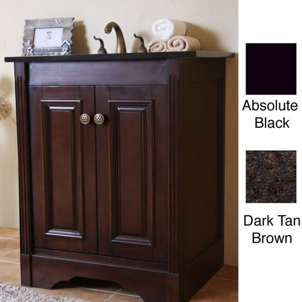 Natural granite top dark walnut finish 24 inch single sink traditional style bathroom vanity for Traditional style bathroom vanities
