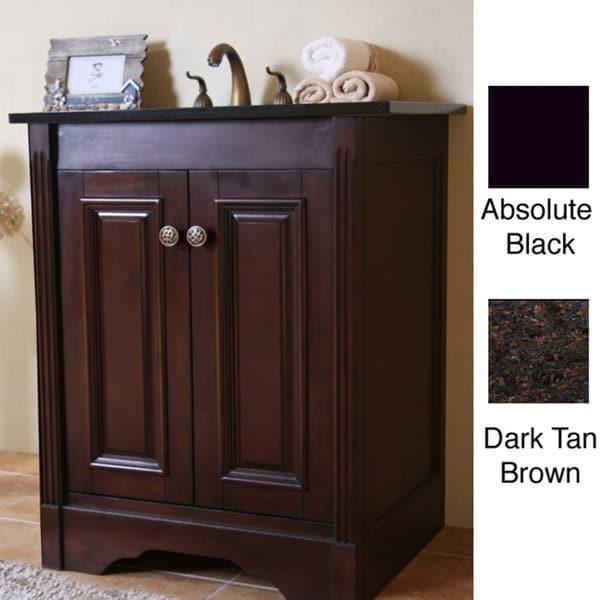 Natural Granite Top Dark Walnut Finish 24 Inch Single Sink Traditional Style Bathroom Vanity