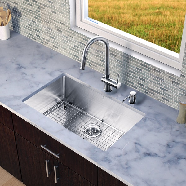 vigo all in one 30 inch stainless steel undermount kitchen sink and gramercy - Kitchen Sink And Faucet Sets