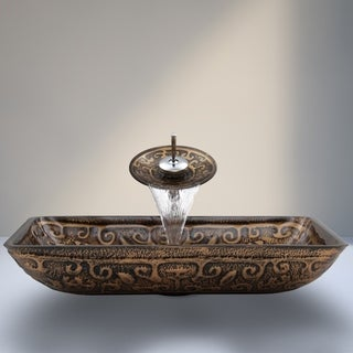 VIGO Golden Greek Glass Vessel Sink and Waterfall Faucet Set