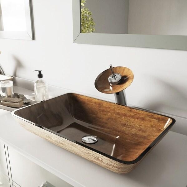 VIGO Amber Sunset Glass Vessel Bathroom Sink and Waterfall Faucet Set