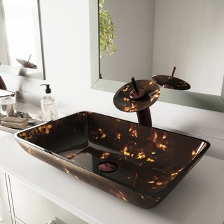 VIGO Rectangular Brown and Gold Fusion Glass Vessel Sink and Waterfall Faucet Set in Oil Rubbed Bronze