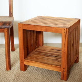 Handmade Teak Slat 18 x 16 x 18 Oak Oil Finished End Table with Shelf (Thailand)