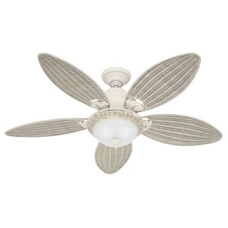 Hunter Caribbean Breeze 54-inch Ceiling Fan with Textured White Finish and Five Cream Wicker Blades