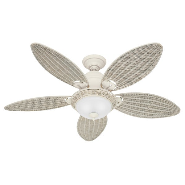 Hunter Caribbean Breeze 54 Inch Ceiling Fan With Textured White Finish And Five Cream Wicker