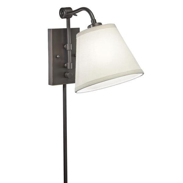 swing arm 1 light plug in bronze wall lamp free shipping today. Black Bedroom Furniture Sets. Home Design Ideas