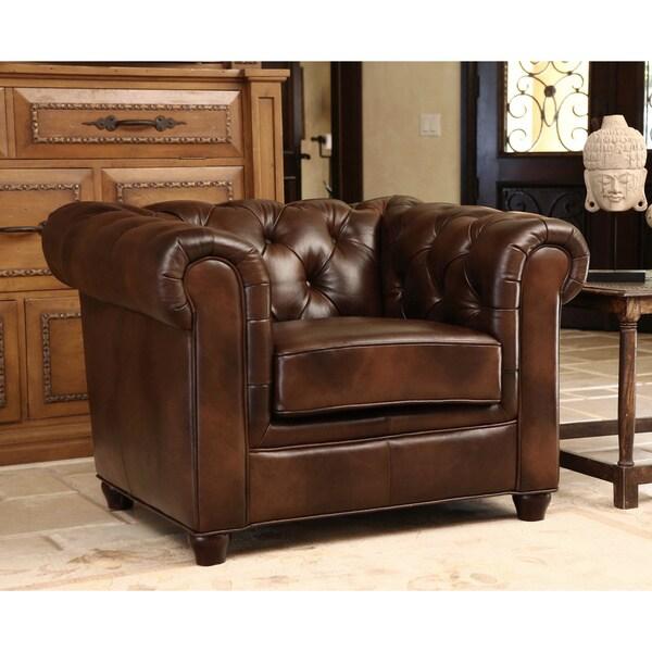 Abbyson Tuscan Premium High Grade Leather Armchair Free