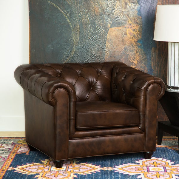 Abbyson Tuscan Top Grain Leather Chesterfield Armchair