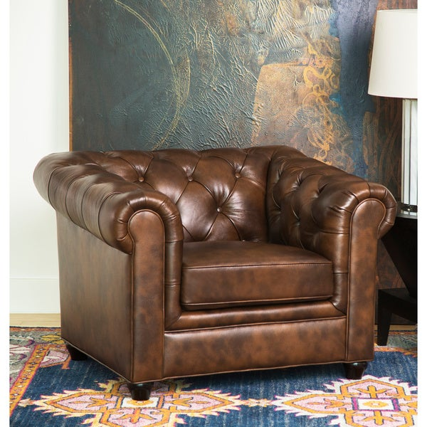 Abbyson Tuscan Top Grain Leather Chesterfield Armchair