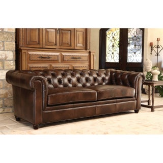 Abbyson Tuscan Top Grain Leather Chesterfield Sofa (4 options available)