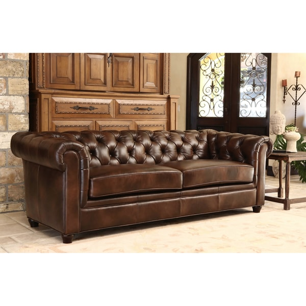 Abbyson Tuscan Chesterfield Brown Leather Sofa - Free Shipping