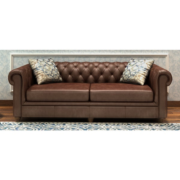 Abbyson Tuscan Chesterfield Brown Leather Sofa   Free Shipping Today    Overstock.com   15559674