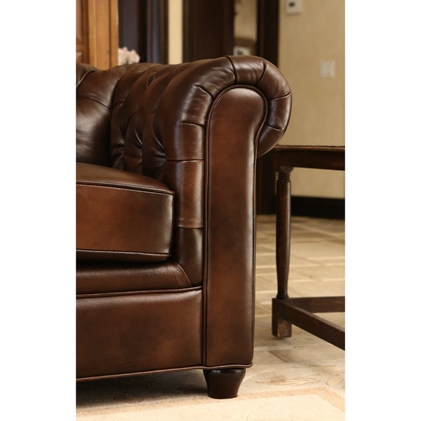 Abbyson Tuscan Leather Chesterfield Sofa   Free Shipping Today    Overstock.com   15559674