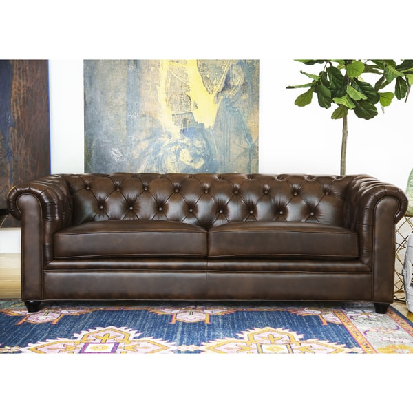 Abbyson Tuscan Top Grain Leather Chesterfield Sofa Free