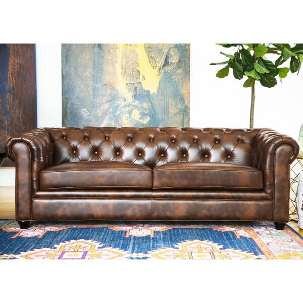 Abbyson Tuscan Top Grain Leather Chesterfield Sofa Free