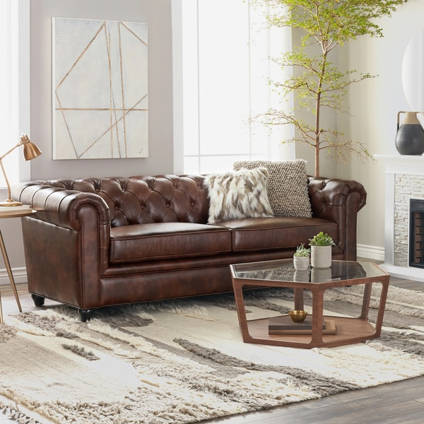Shop Abbyson Tuscan Top Grain Leather Chesterfield Sofa