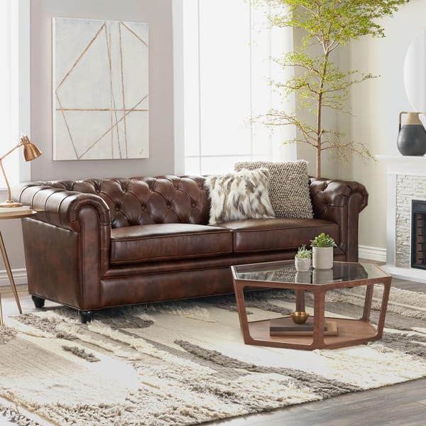 Shop Abbyson Tuscan Top Grain Leather Chesterfield Sofa On