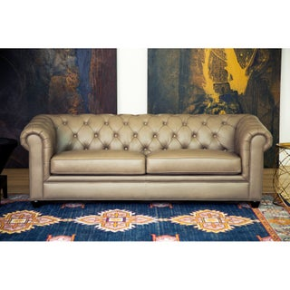 Abbyson Tuscan Top Grain Leather Chesterfield Sofa (Option: Taupe)