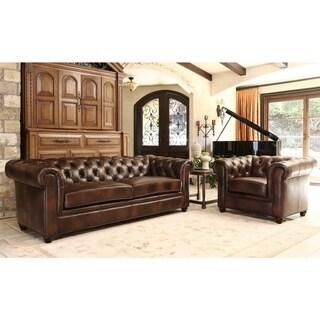 Abbyson Tuscan Premium Italian Leather Sofa and Armchair Set