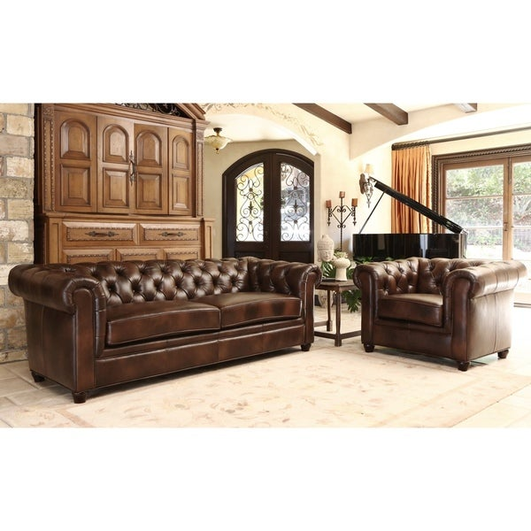 Abbyson Tuscan Leather Chesterfield 2 PC Living Room Set