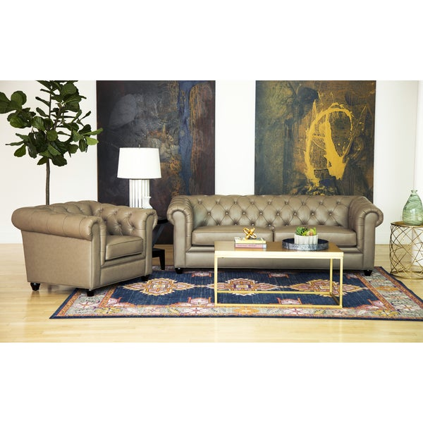 Abbyson Tuscan Top Grain Leather Chesterfield 2 Piece Living Room Set    Free Shipping Today   Overstock.com   15559670 Part 45