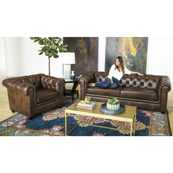 Abbyson Tuscan Top Grain Leather Chesterfield 2 Piece Living Room Set
