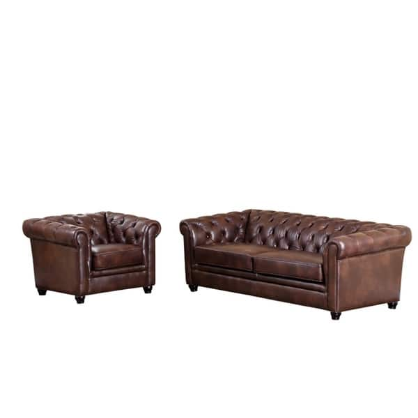 Shop Abbyson Tuscan Top Grain Leather Chesterfield 2 Piece