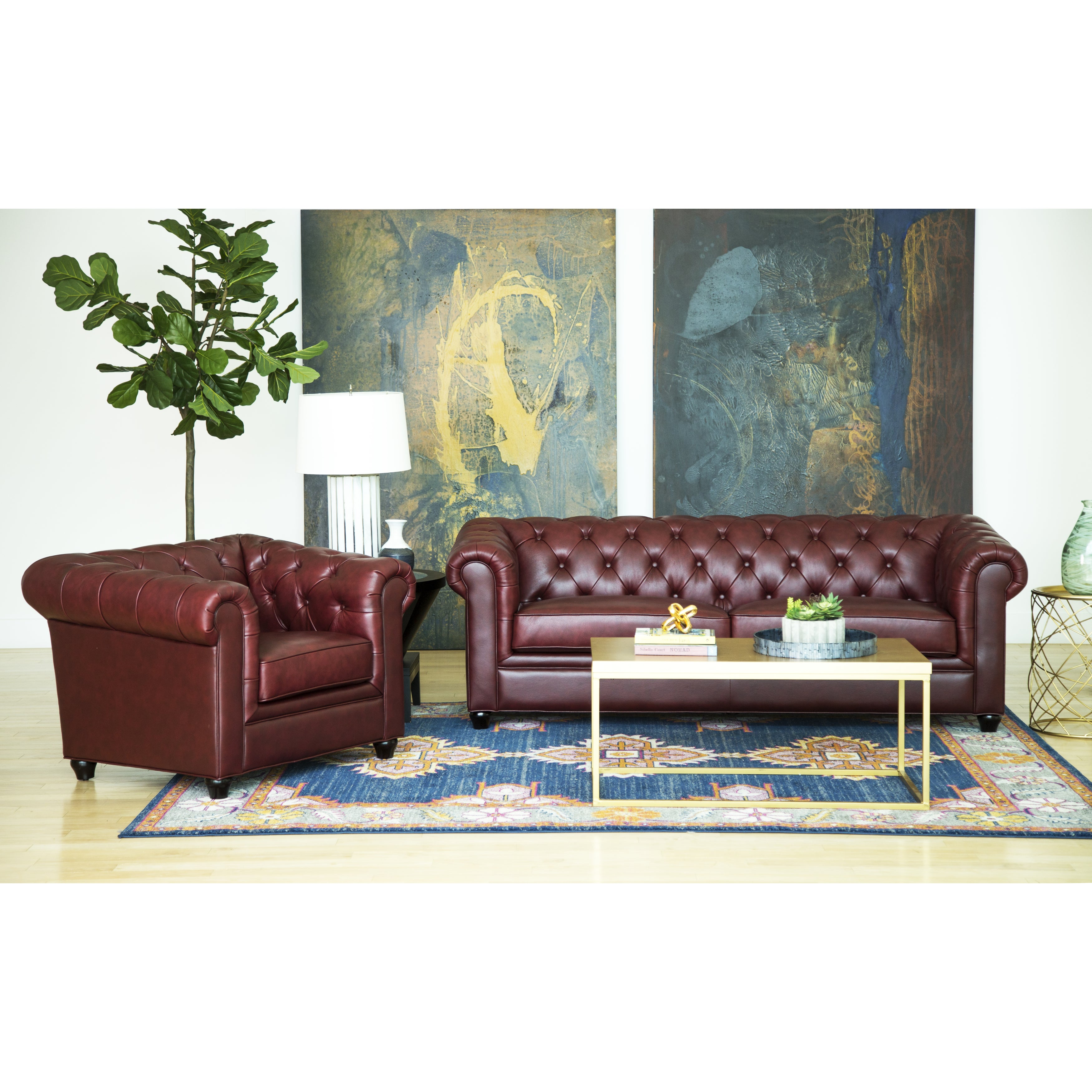 Abbyson Tuscan Top Grain Leather Chesterfield 2 Piece Living Room Set  (Option: Burgundy)