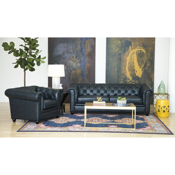 Great Abbyson Tuscan Top Grain Leather Chesterfield 2 Piece Living Room Set    Free Shipping Today   Overstock.com   15559670