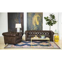 Hancock Tufted Distressed Saddle Brown Italian